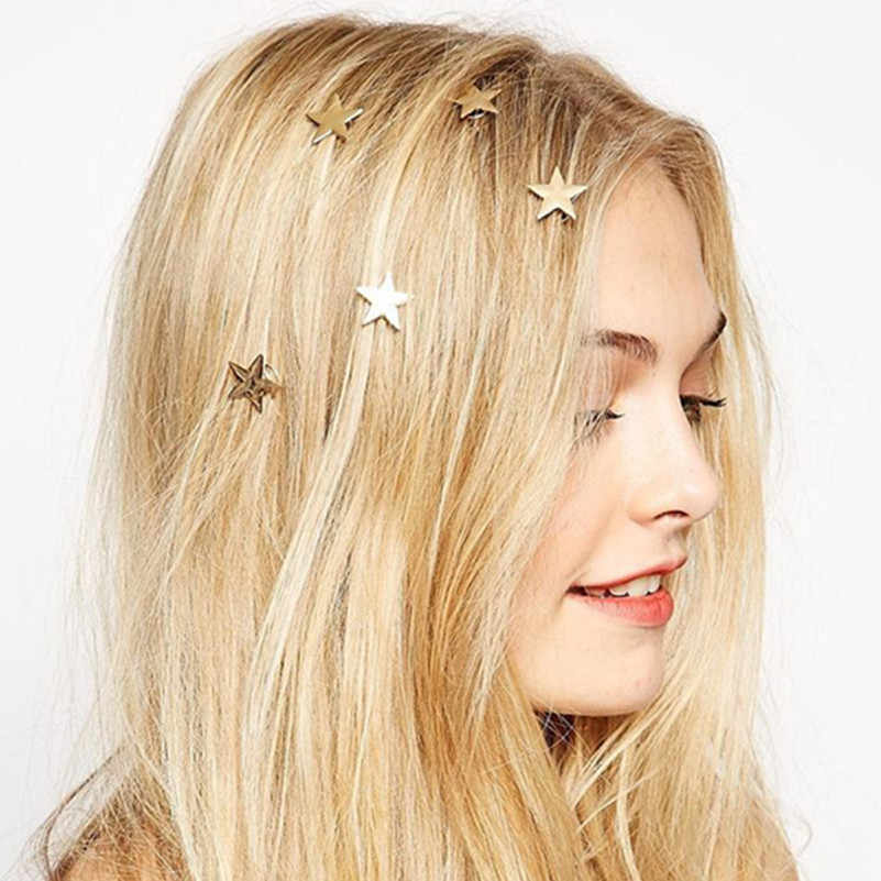 1PCS latest gold  small star coil spring clip hairpin hair accessories jewelry suitable for   women and girls head jewelry wedd