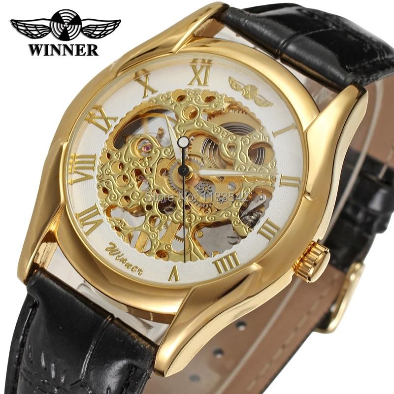 Vencedor Relógio Mecânico dos homens Mão-vento Pulseira de Couro Moda Casual Analógico relógio de Pulso de Cristal Cor Glod WRG8050M3G2