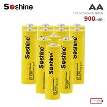 Soshine 12PCS/Lot AA 14500 Li-Ion Battery Original 3.7V 900mah lithium Rechargeable Batteries For Energy Saving Flashlight