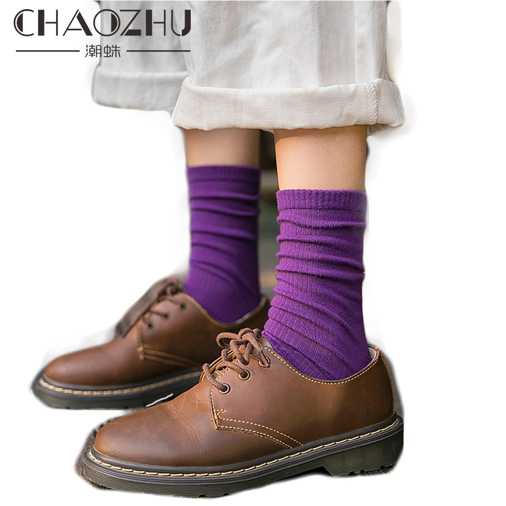 CHAOZHU 2019 Spring 13 Colors Small Rib Solid Colors Tube Socks Korea Japanese Women Basic High Quality Soft Loose Socks Trendy