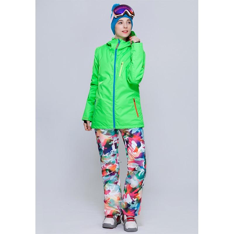 Prix pour Gsou neige 2016 hiver costume de ski des femmes étanche femelle neige vestes et pantalons ensembles épaissir respirant snowboard vêtements