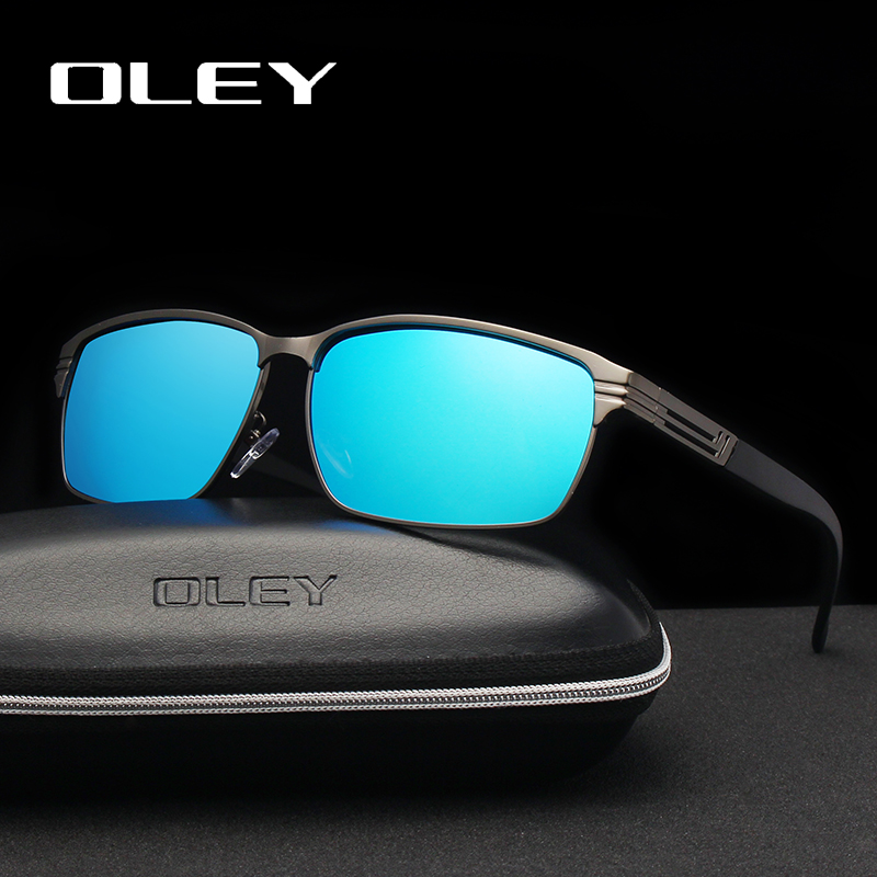 OLEY Fashion Square Men's Polarized Sunglasses Light Alloy Frame Lens Classic Retro Women Glasses Driving UV400 Goggles Y7124