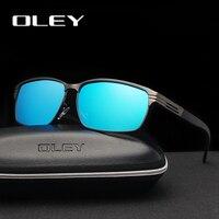 OLEY Fashion Square Men's Polarized Sunglasses Light Alloy Frame HD Lens Classic Retro Women Glasses Driving UV400 Goggles Y7124