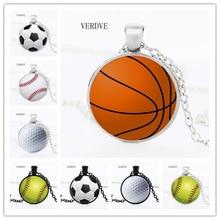 VERDVE 2018 New Fashion Basketball Basketball Baseball Soccer Photo Crystal Glass Pendant Necklace Jewelry new fashion jewelry baseball bat