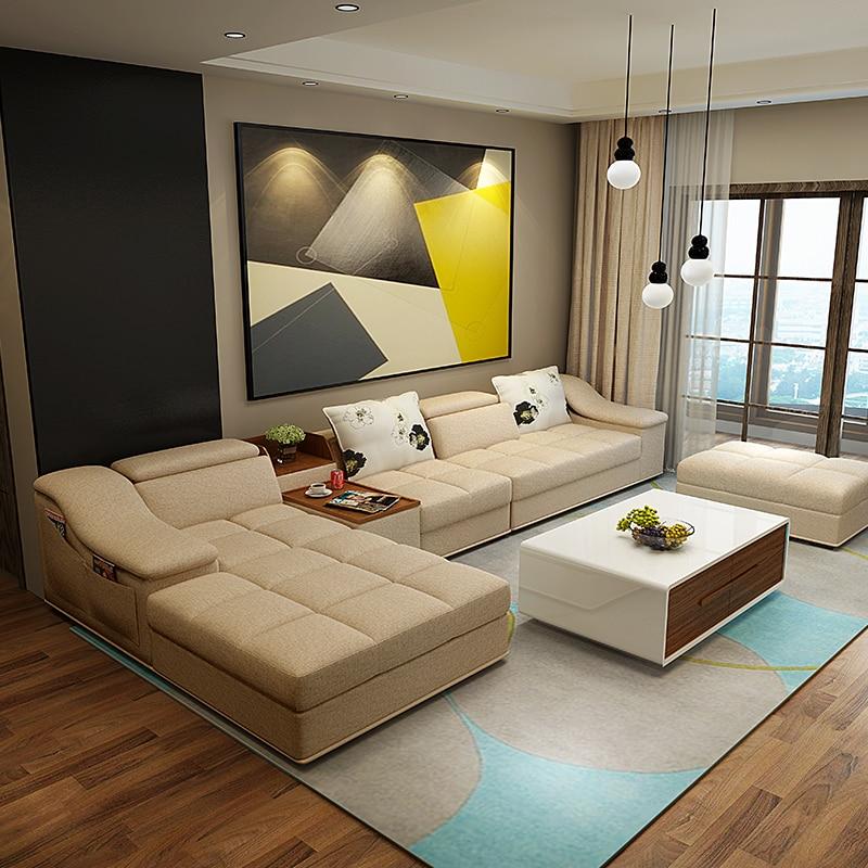 living room furniture modern L shaped fabric sectional sofa set ...