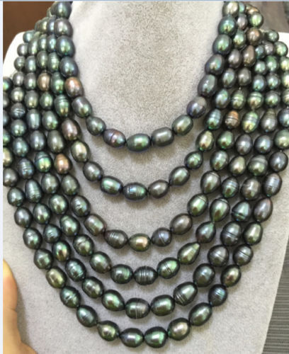 Tahitian black peacock green pearl necklace 80inch 11-13 mmTahitian black peacock green pearl necklace 80inch 11-13 mm