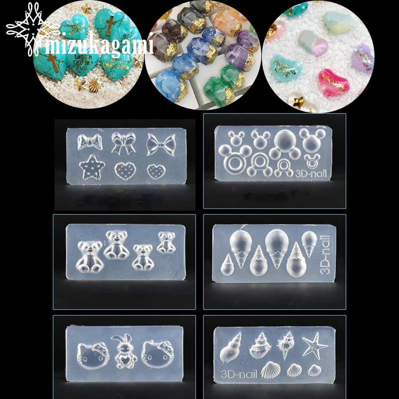 1pcs UV Resin Jewelry Liquid Silicone Mold Radish Rabbit Bowknot Bear Pendant Molds For DIY Intersperse Decorate Making Jewelry