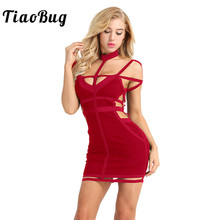 TiaoBug Women Ladies Off The Shoulder Halter Cutout Sexy Bodycon Dress  Cocktail Party Clubwear Spaghetti Strap 56f30f86755a