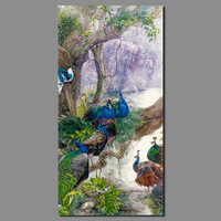 Big Size Retro Peacock Animals Decoration Flowers Wall Art Picture Birds Pink Canvas Painting Living Room