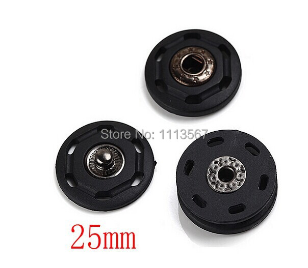 50 pieces Metal + Plastic Black Snap Press Button Sewing On for Craft Sewing 25 mm NK35