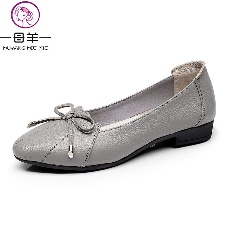 MUYANG MIE MIE Women Shoes 2018 Genuine Leather Women Flats Fashion Female Casual Work Ballet Flats Plus Size 35-43 Ladies Shoes flats shoes women ballet princess shoes casual crystal boat shoes rhinestone women flats fashion plus size 35 40 2018 new gift