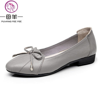 MUYANG MIE MIE Women Shoes 2019 Genuine Leather Women Flats Fashion Female Casual Work Ballet Flats Plus Size 35-43 Ladies Shoes