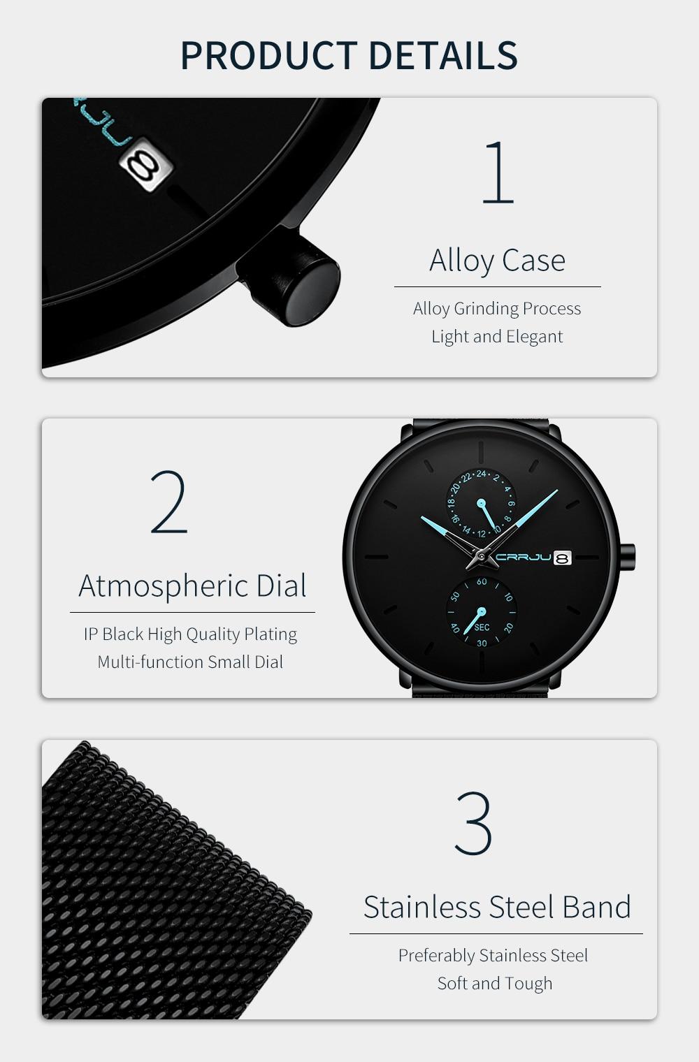Crrju nova moda ultra-fino relógio masculino marca