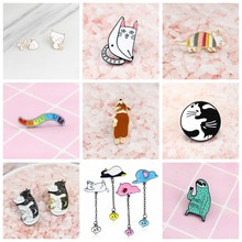 Cat Bear fish bone Rocking chair cat earthworm Series Animal Personality Brooch Pet Lover Gift Clothes Backpack Badge Jewelry(China)