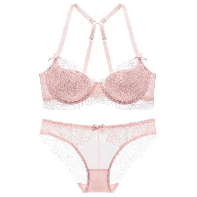 New 2018 summer European Women lingerie comfortable Sexy lace thin cup underwear cross shoulder strap beauty back bra set