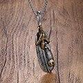 Mprainbow hombres collares de acero titanium de la garra del águila colgante de plumas de moda vintage hombre accesorios de la joyería collier colar kolye