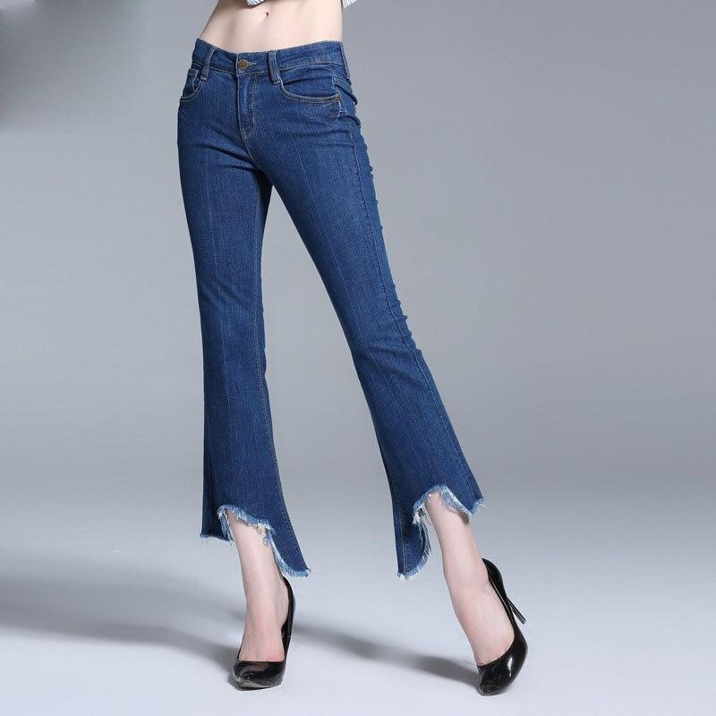 2017 Women's Casual Harem Bell Bottom Pants Irregular Plus Size Casual Women Long Palazzo Cotton Women Jeans Ladies Flare Pants harem pants for women plus size cotton 96