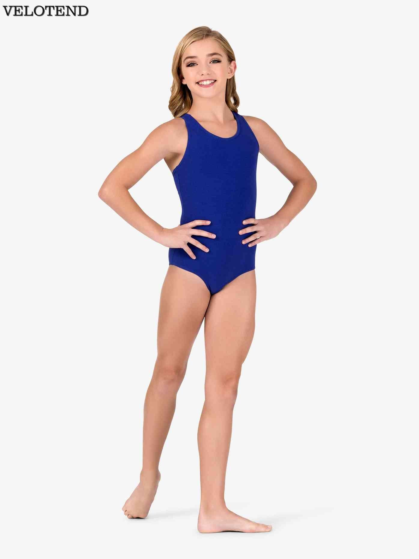0f96db182 VELOTEND Girls Spandex Racerback Tank Shorty Unitard Dancewear for ...