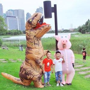 Image 2 - Costume gonflable de Jurassic World, mascotte de dinosaure, dessin animé, pour Thanksgiving, pour enfants et adultes, spectacle de fête, pour noël, T REX