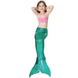 Image 2 - 4 Pcs/24 Colors Swimming Mermaid Tails with Fin Costume Girls Swimsuit Swimwear Kids Little Children Mermaid Bikini Suit