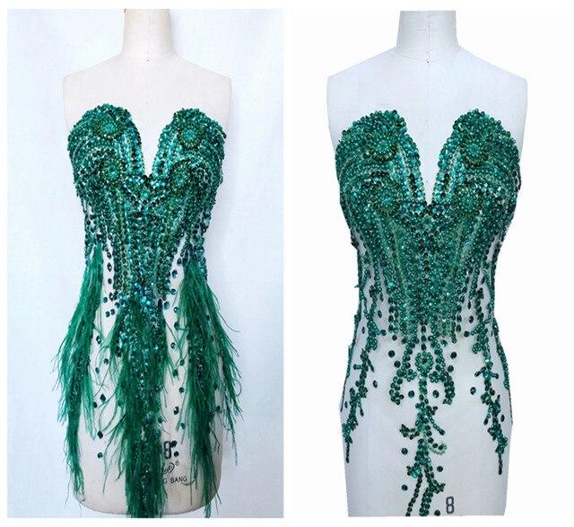 손으로 만든 라인 석 아플리케 메쉬 딥 그린 트림 패치 66*34 cm 웨딩 드레스 액세서리 7 색