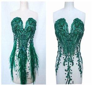 Image 1 - ハンドメイドラインストーンアップリケにメッシュディープグリーントリムパッチ 66*34 センチメートルウェディングドレスのためのアクセサリー 7 色