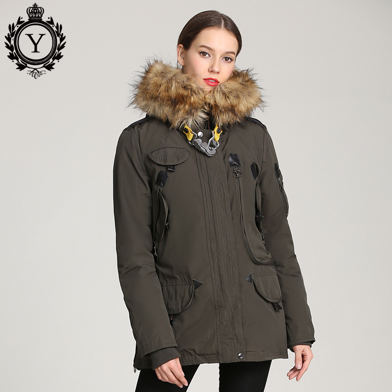 COUTUDI Multi-pockets Winter Jacket Women Raccoon Fur Collar Hooded Coat Warm Cotton Padded Female Parka 2019 New Collections