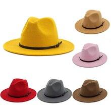 Винтаж сплошной цвет фетровый котелок с широкими полями Fedora Hat Зима флоппи Женская кепка Джаз горра Европейский Американский Круглый Кепка s котелок шапки