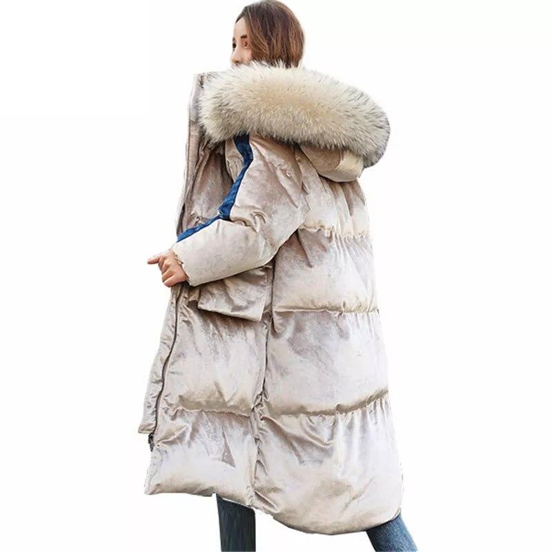 -30 Degree Windproof Women Winter Coat Cotton Padded Jacket Parka Hooded Long Down Jacket Female Thick Warm Outwear Overcoat 736