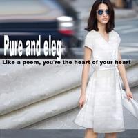 French high-end white jacquard silk clothing custom material coat dress shirt pants shirt fabric