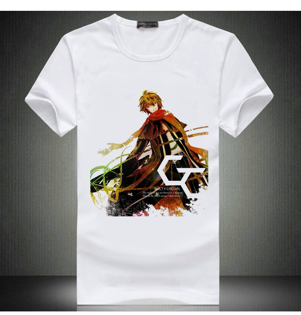 New Arrival Mens Cotton Shakugan No Shana T-Shirt Tops Japan Anime White Oumi Shu T Shirt Top Tees