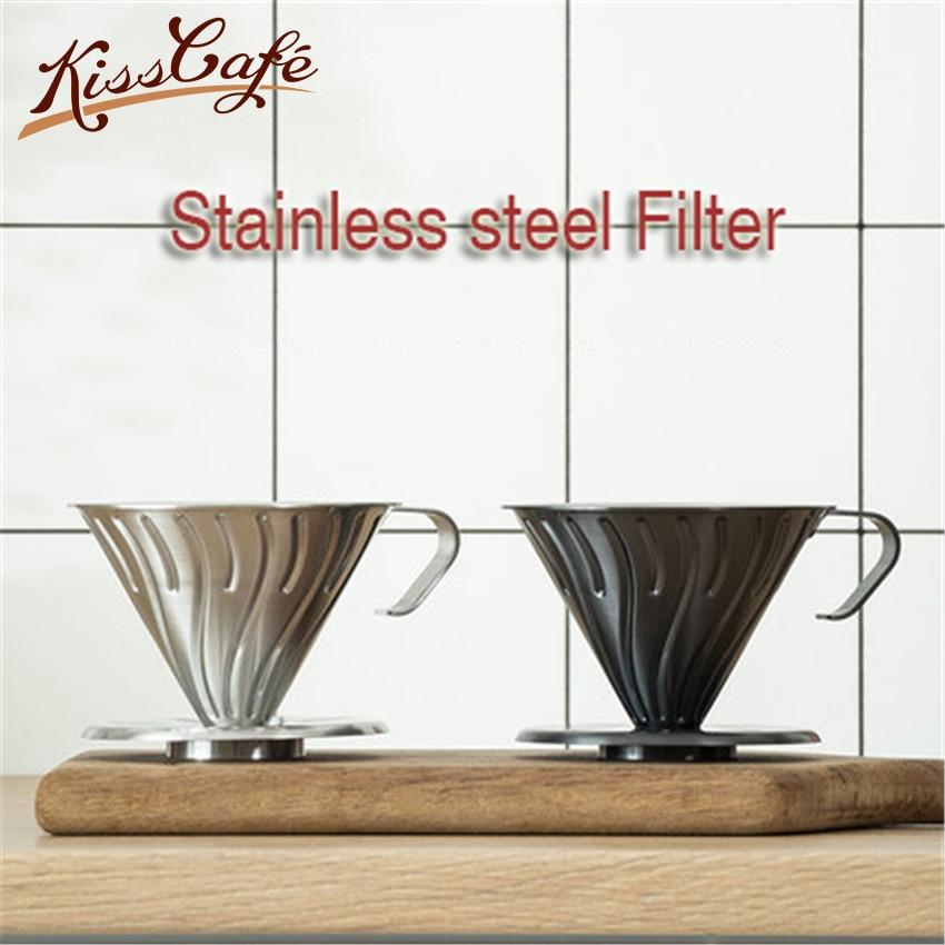 Reusable Coffee Filter Holder Stainless Steel Brew Drip Coffee Filters Funnel Metal Mesh Coffee Tea Filter Basket Tools