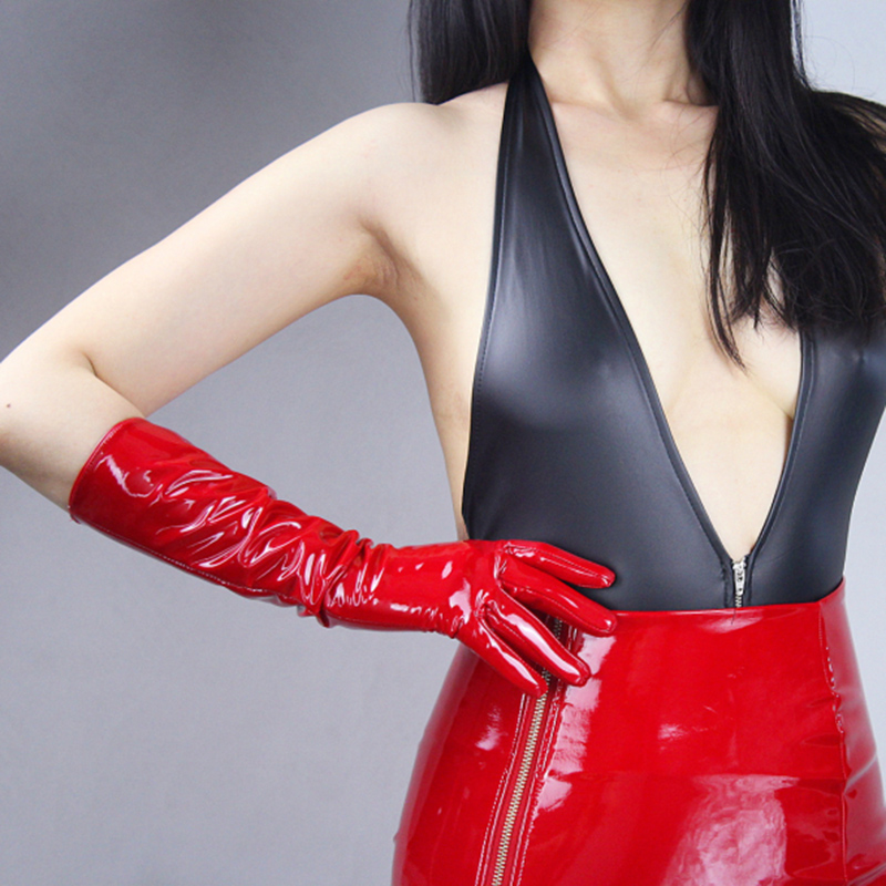 Patent Leather Gloves Women Bright Red Long PU Simulation Leather Bright Leather Mirror Fashion Women'S Models 40cm T77