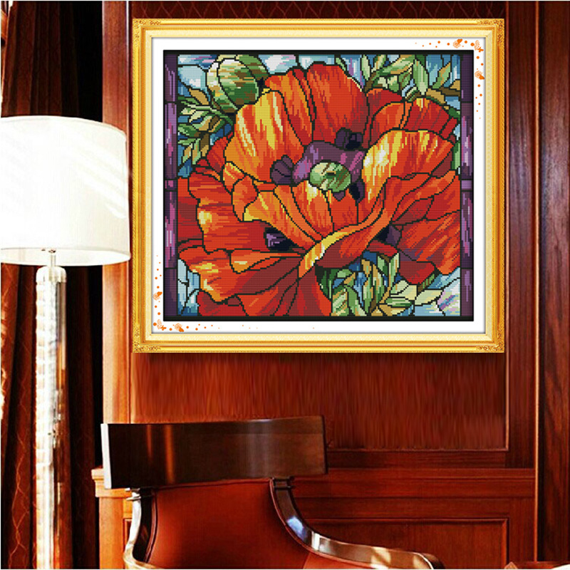 Bright Poppy (6) Printed Canvas DMC Counted Cross Stitch Kits printed Cross-stitch set Embroidery Needlework