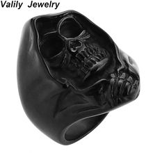 Mens Large Vintage Biker Gothic Casted Death Grim Reaper Skull Stainless Steel Punk Ring Silver Black