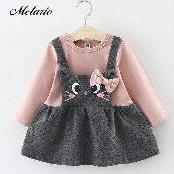 8b911c5c3a903c2 Melario/платье для малышей, осеннее платье для маленьких девочек, платье  принцессы с рукавами-лепестками, детская одежда, платье с рисунком кот.