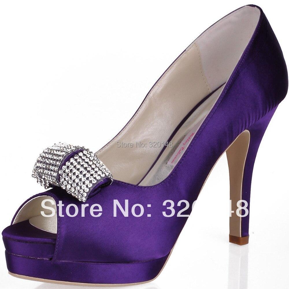 Women Purple High Heel Peep Toe Rhinestone Platform Pumps