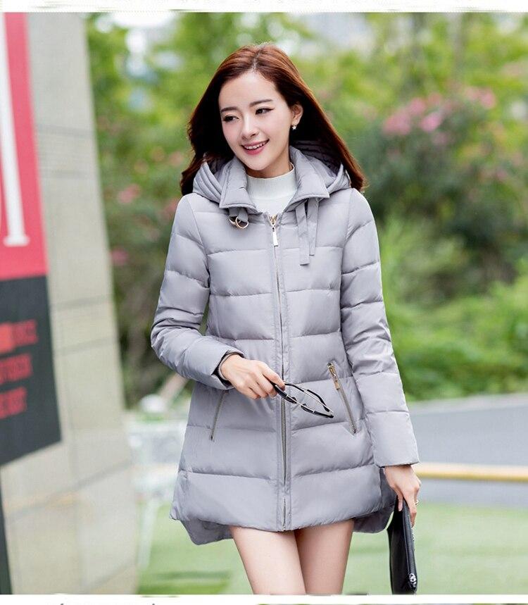 Новинка 2018, горячая Распродажа, парки размера плюс со шляпой, черные, темно синие, серые, красные пальто, зимние куртки для женщин - 3