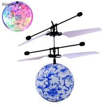 Радиоуправляемый Дрон вертолет мяч встроенный сверкающих Светодиодное освещение для детей и подростков красочные полетах для детей игрушки V