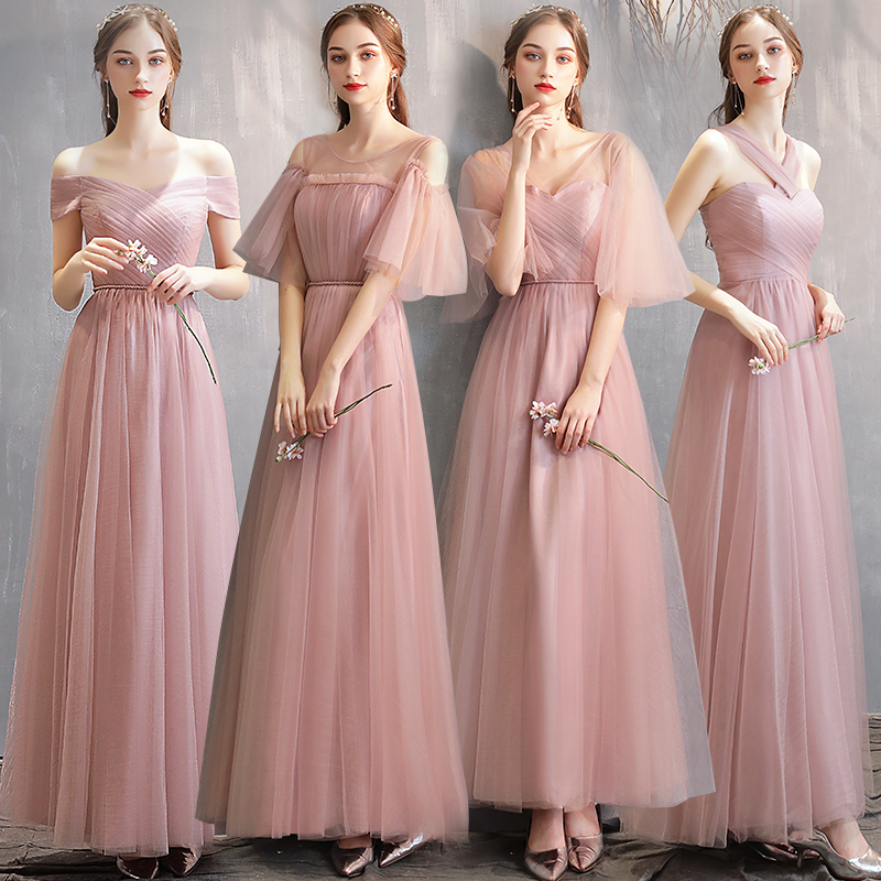 New Elegant Dusty Pink   Bridesmaid     Dress   Half Sleeve Mismatched for wedding party for Women robe demoiselle d'honneur pour femmal