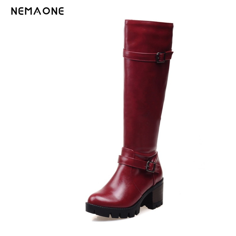 цена на NEMAONE Hot 2017 New Fashion Sweet womens Thigh High Boots Spring Autumn Ladies Over The Knee Boots Casual Women Boots for Women