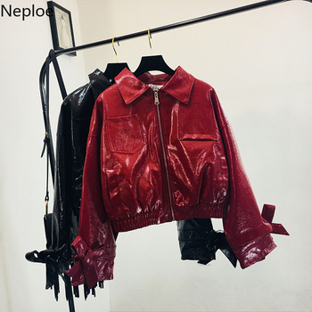 Neploe Women Motocycle Jacket PU Leather Coat Harajuku Glossy Short Jackets Long Sleeve Bow Tie Zipper Pockets Overcoat 38390