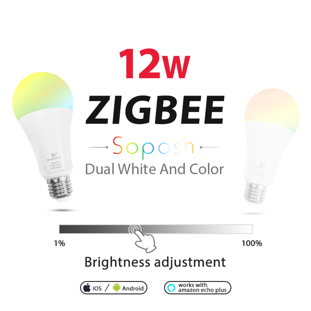 Купить с кэшбэком LED ZIGBEE hub E27 12W dual white dimmer bulb RGB RGB+CCT E26 LED bulb AC100-240V dimmable  lamp RGBW RGBWW work with Alexa plus