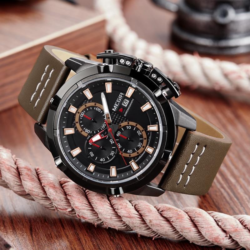 купить 2018 MEGIR Men Quartz Watch Mens Fashion Sport Watches Man Military Waterproof Leather Strap Analog Clock Relogio Masculino по цене 1829.13 рублей