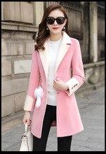 0155478bd9c0 QMGOOD Frau Mäntel Winter 2018 Hohe Qualität Weibliche Mode Koreanischen  Langen Mantel Frauen Woolen Mäntel Plus Größe Rosa Gelb.