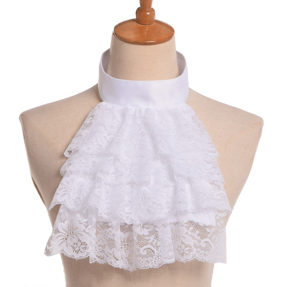 Men Victorian Ruffled Lace Jabot Detachable Collar Wrist Cuff White/Black Vintage Steampunk Fake Collar