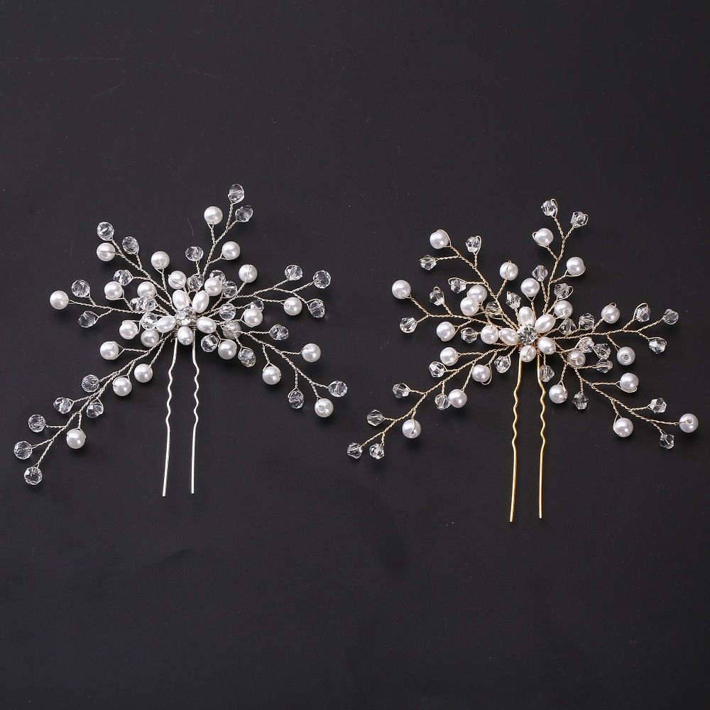 Women Hairpins Hair Clips Headpieces Wedding Hair Jewelry Accessories Crystal Pearls Hair Forks For Bridal Hairstyle Dropship