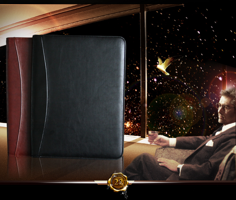 A4 zipper leather file folder document bag briefcase with handle calculator ring binder handbag business office