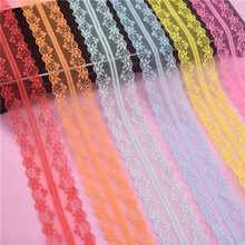 10 Yards/lot Lace Ribbon Tape 40MM Wide White Lace Trim Handicrafts Embroidered  Cord for Sewing Decoration African Lace Fabric 10 meters lace ribbon tape 45mm wide trim fabric diy handicrafts embroidered net cord for sewing decoration african lace fabric