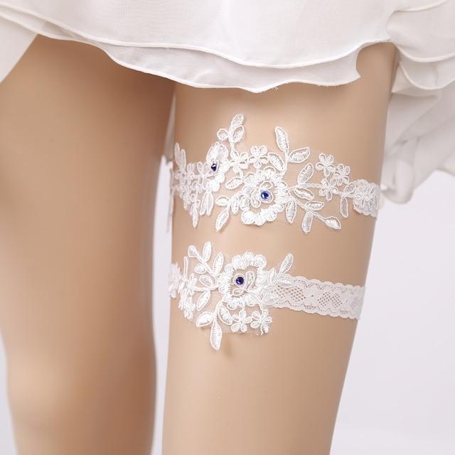 c8a9e1fa1 Lace Embroidery Floral Blue Rhinestone Sexy Wedding Garters 2pcs set for Women  Bride Accessory Thigh Ring Bridal Leg Garter